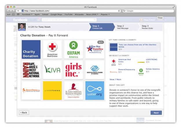 facebook list of charities for gifts