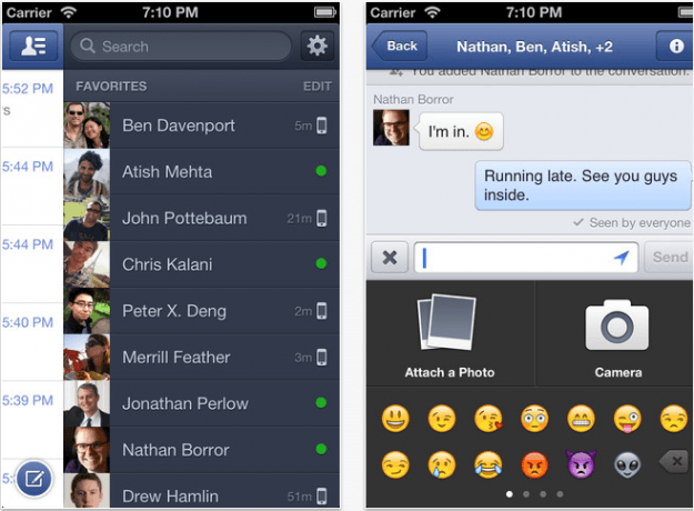 Facebook Messenger iOS 6 screencap