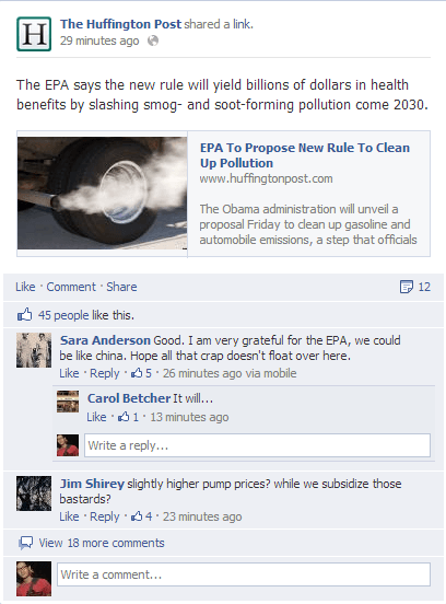 Facebook nested comments