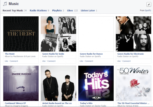 Facebook new timeline spotify connected music section