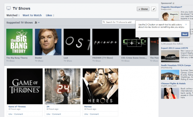 facebook new timeline tv shows