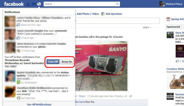 Facebook Notifications Greater Control