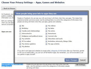 Facebook privacy options for apps