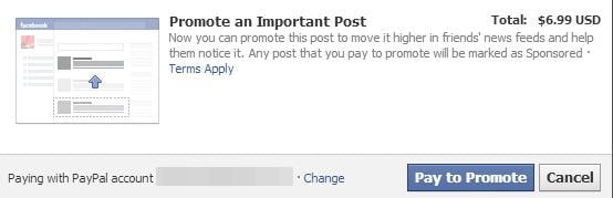 facebook promoted post cost