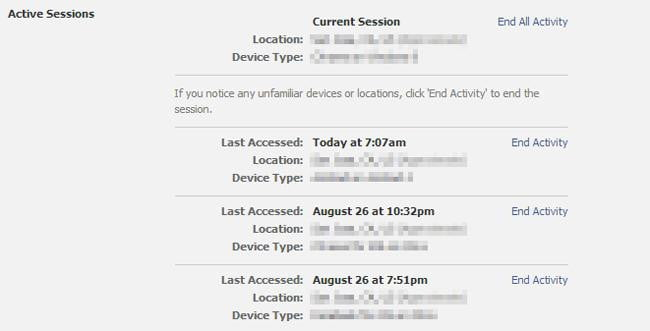 facebook security settings - active sessions