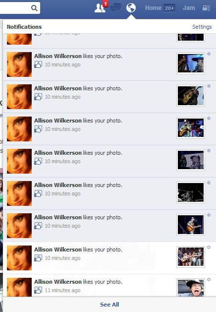 Facebook Shared Albums - Notifications