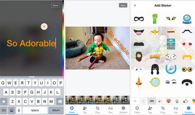 facebook snapchat photo editing stickers feature