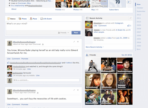 facebook timeline redesign test