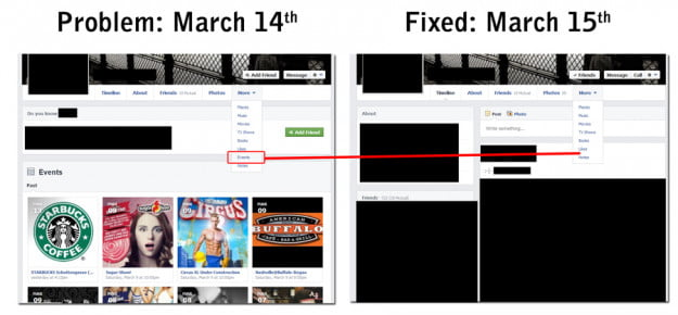facebook timeline update events issue