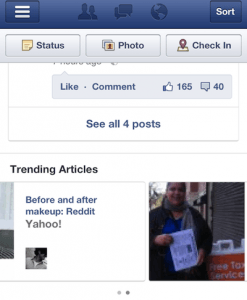 Facebook Trending Articles on Mobile