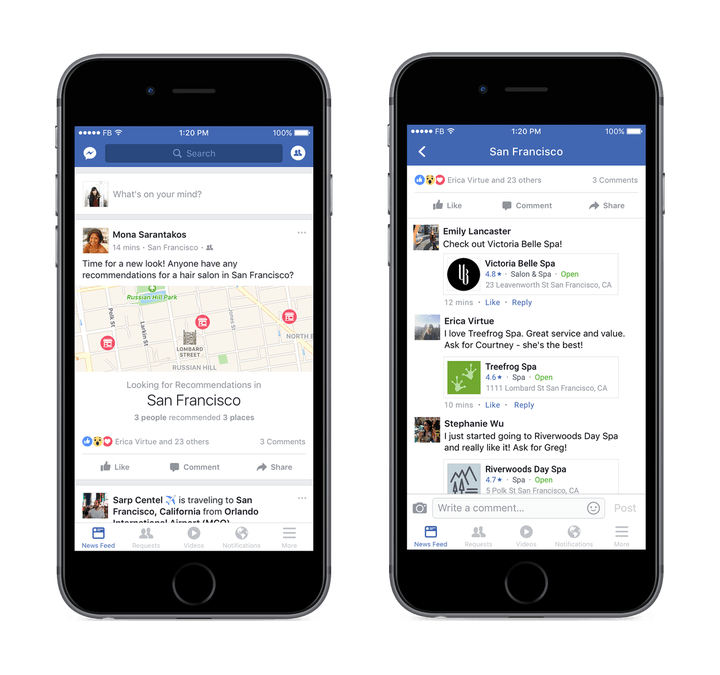 Facebook now maps your friends' recommendations