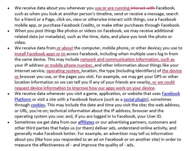 fb data use policy changes