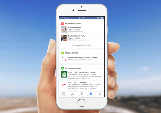 facebook cards replace notifications fb tab events