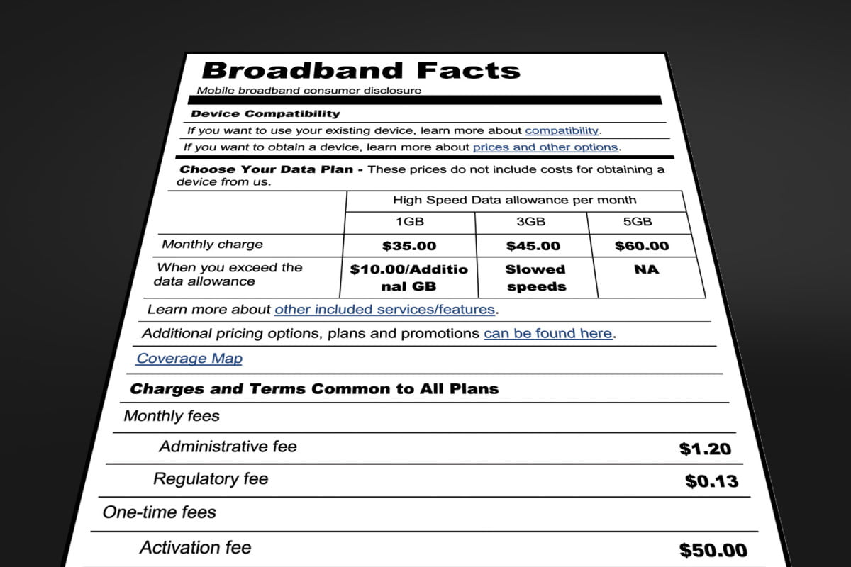 fcc suggests nutrition labels broadband carriers facts