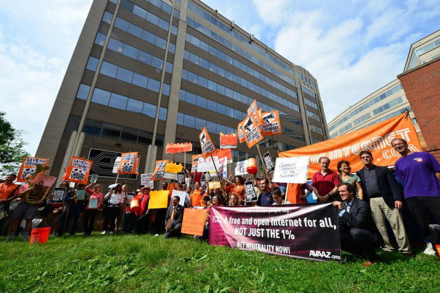 Protesters hold a rally in front of the FCC headquarters in Washington D.C. on May 15th.