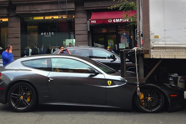 anyone want ferrari ff doorstop new york truck driver just crushed one