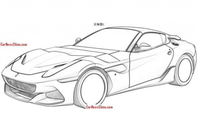 leaked ferrari patent drawings show f  gto sp arya front three quarter