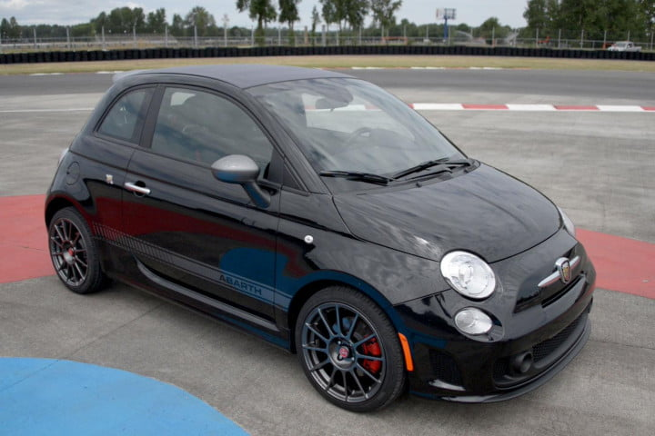 fiat abarth cabrio review front angle closeup