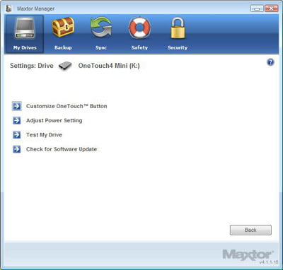 Maxtor Manager Screenshot