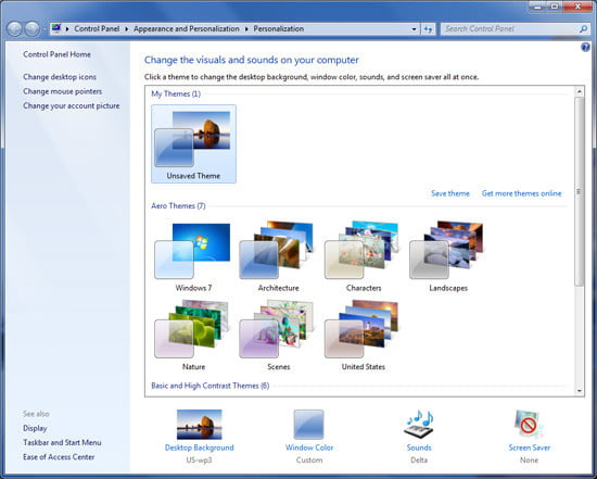 Windows 7 Personalize
