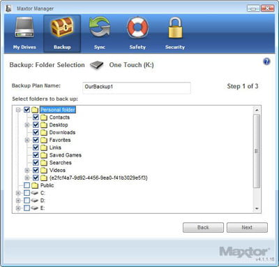 Maxtor Manager Backup Tab