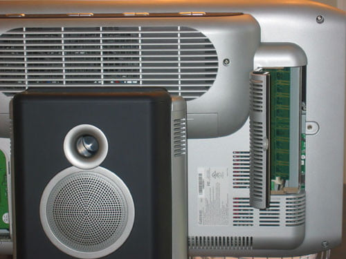 The memory can be upgraded by accessing the rear panel