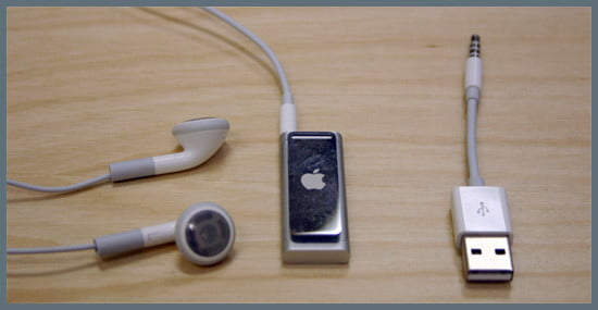 Headphones, shuffle, and USB cable