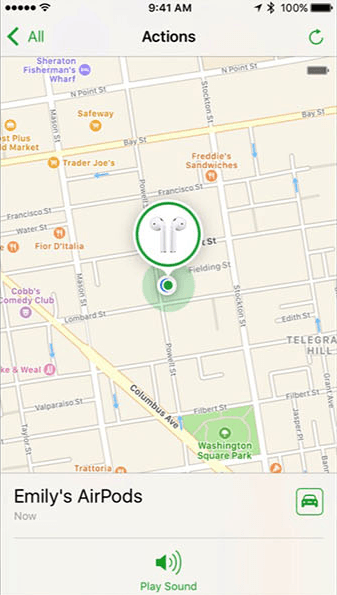 find my airpods ios iphone app screen