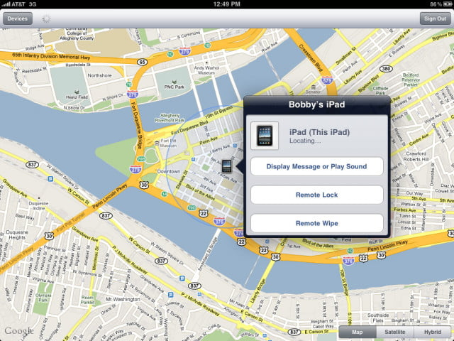 find my iphone app errors ipad