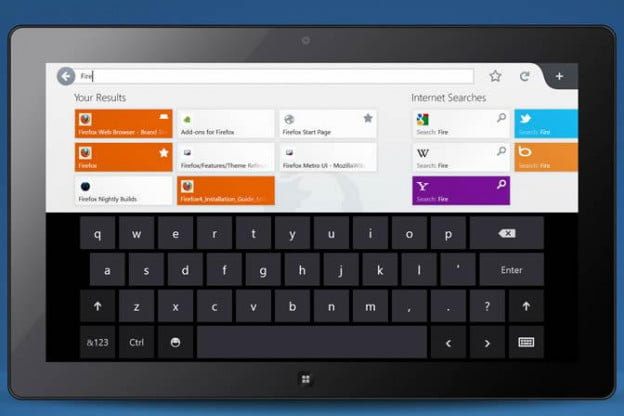 Firefox for Windows 8 with auto search results