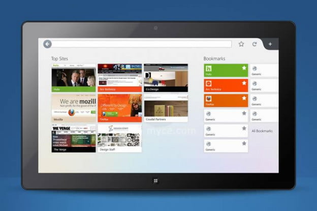 Firefox for Windows 8 with top sites