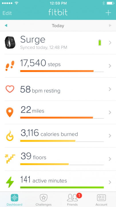 fitbit surge review screen