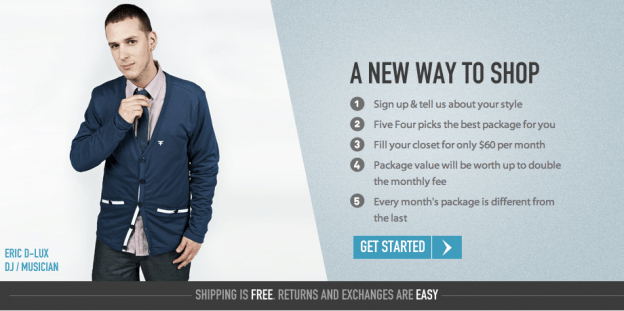 Five Four Club online shopping club for contemporary men