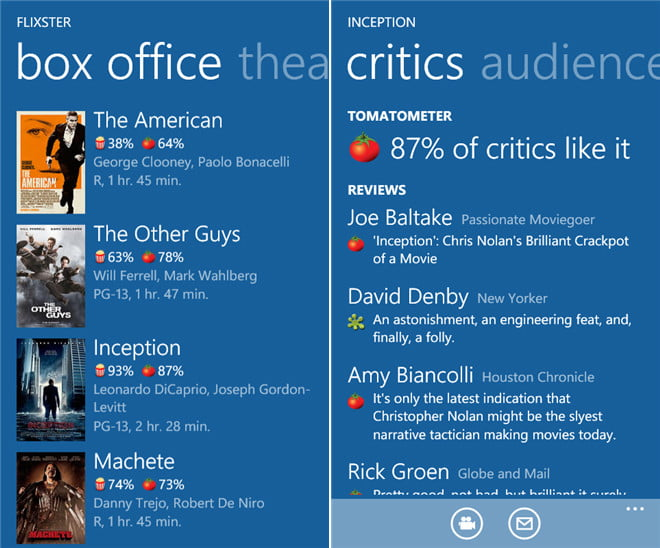 flixter movies theaters microsoft windows phone app