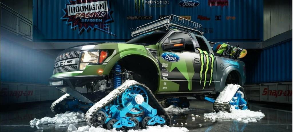 ken block unveils raptortrax ford f  svt raptor pickup