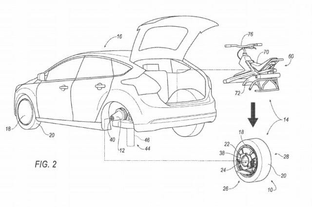 check out fords wacky idea for a rear wheel that doubles as unicycle ford patent