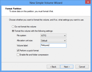 The format step, which creates the file system, is the next step in the volume creation process.