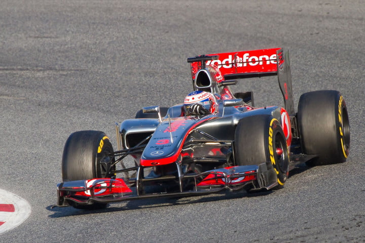 Jenson Button of McLaren F1 team races during Formula One Teams Test Days at Catalunya circuity, Barcelona, Spain