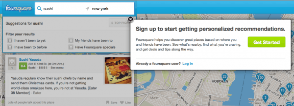 foursquare sushi search