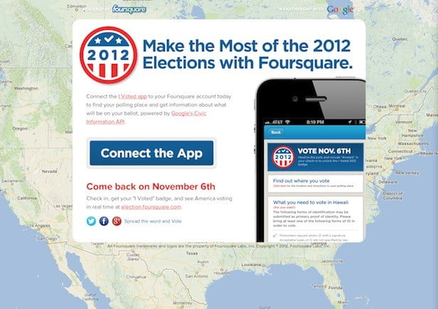 Foursqure I Voted map gives a real-time election day fix