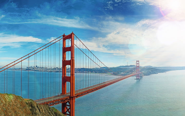 The panorama image of the Golden Gate Bridge, before it was cropped to reveal the Bentley Mulsanne.