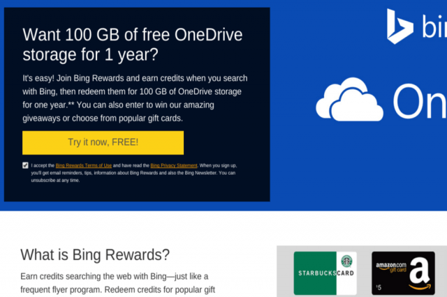 microsoft offers  gb free onedrive space youre willing bing ftid m