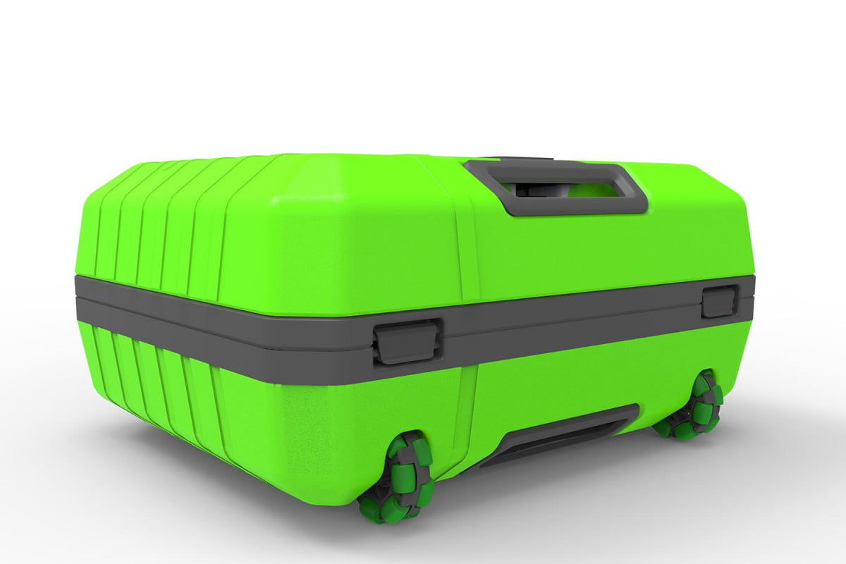 fugu inflatable luggage goes from carry on to full size with air