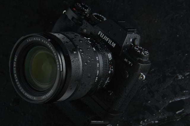 Fujifilm's first water resistant lens mounted to a X-T1 camera.