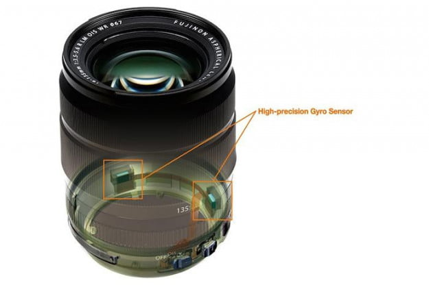 The lens is fitted with two high-precision gyro sensors that add 5 stops of image stabilization.