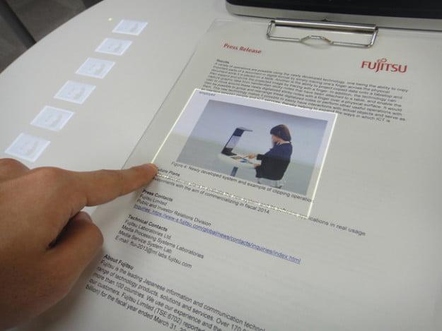 Fujitsu touchscreen interface for paper