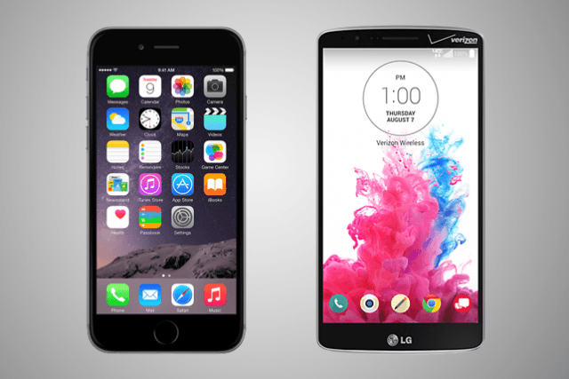 mobile iphone  vs lg g