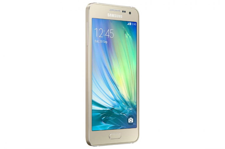 samsung galaxy alpha a  and news front angle gold