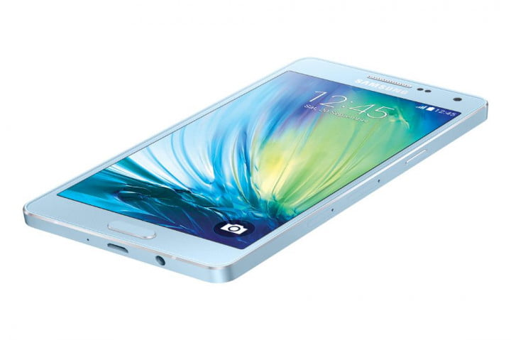 samsung galaxy alpha a  and news front side blue