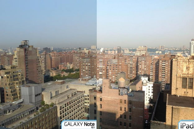 galaxy note 10.1 tablet review camera sample outside city ipad COMPARISON samsung tablet apple